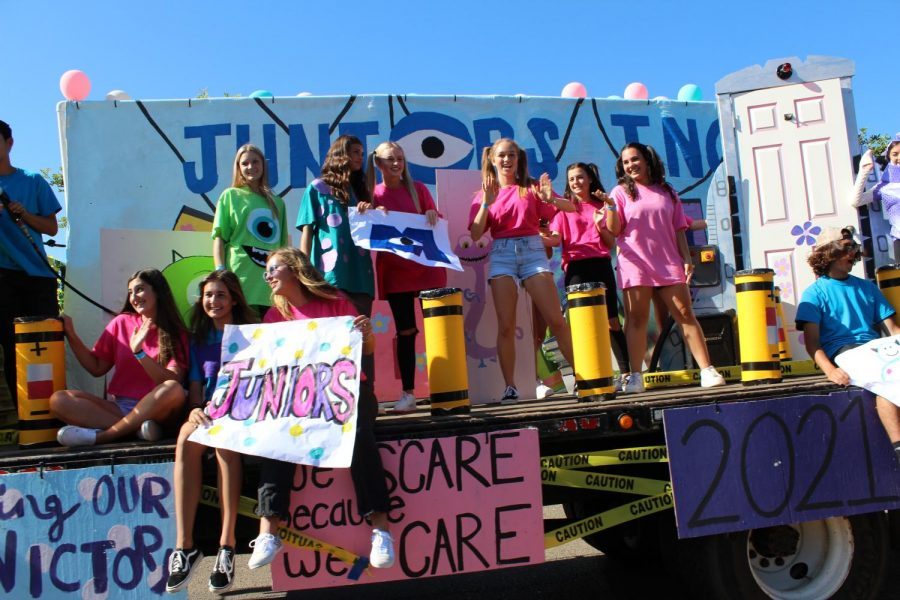 Juniors' float featuring the movie Monsters Inc.