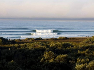 Lowers Trestles seen from the high cliffs of San Clemente on a perfect day.